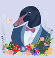 botanical duck in suit cartoon vector image
