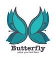 butterfly graphic abstract logo design with text vector image vector image