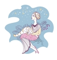 card with woman and cat vector image vector image