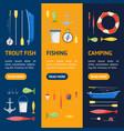 Cartoon fishing banner vecrtical set