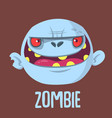 cartoon funny gray zombie head vector image vector image
