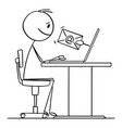 cartoon man or businessman working on computer vector image