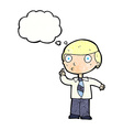 cartoon school boy with thought bubble vector image vector image