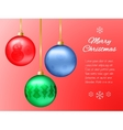 Christmas card with red blue and green pendants vector image vector image