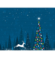 Christmas tree in forest of alders and one running vector image