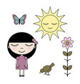 clip art set girl in summer garden vector image