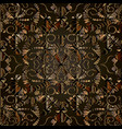 dark brown abstract 3d floral seamless vector image