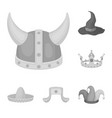 different kinds of hats monochrome icons in set vector image