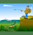 fisherman and pike vector image