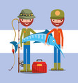 fisherman fishing cartoon vector image