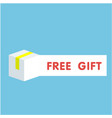 free gift white box blue background image vector image