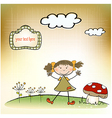 fun background with little girl vector image vector image