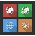 Globe earth icons set with Long Shadow vector image