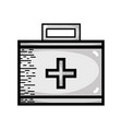 grayscale suitcase with medical first aid kit vector image vector image