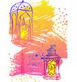 hand draw ramadan kareem letteringlatern and lamp vector image