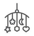 hanging toys line icon child and bed vector image vector image