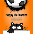happy halloween cat and soccer ball vector image vector image