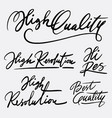 high quality and best quality hand written typogra vector image vector image