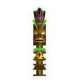 indigenous carved wooden totem pole isolated on vector image vector image