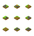 isometric way set of down way asphalt and other vector image vector image