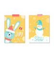 joy and let it snow poster set vector image vector image