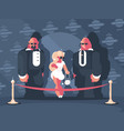 lady famous star with bodyguards vector image