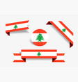 lebanese flag stickers and labels vector image vector image