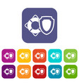 lifebuoy and safety shield icons set vector image vector image