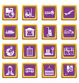 logistic icons set purple vector image vector image