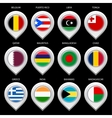 Map marker with flag-set ninth vector image vector image