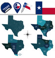 map of texas with regions vector image vector image