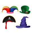masquerade hats funny colored costumes and masks vector image