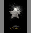 Merry christmas silver glitter star holiday card vector image