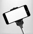 Monopods with phones attached for selfies vector image vector image