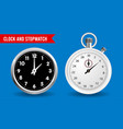 realistic clock and stopwatch isolated on blue vector image vector image
