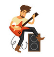 rock musician with long hair plays electric guitar vector image vector image