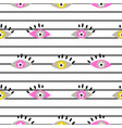seamless abstract eye pattern on striped white vector image vector image