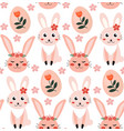 seamless spring pattern with rabbits and vector image vector image
