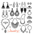 set of hand drawn women accessories jewelry vector image vector image