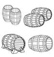 set wooden barrel beer in engraving vector image