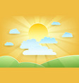 summer sun and green meadows paper cut vector image vector image
