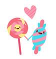 sweet candies friends cartoon character vector image