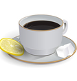 tea with lemon saucer vector image