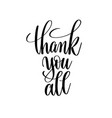 thank you all black and white hand written vector image