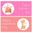 valentines day horizontal postcards with bears vector image vector image