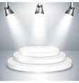 White Stage Platform Illuminated by Spotlights vector image vector image