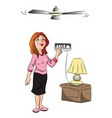 woman switching on fan vector image vector image