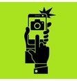Selfie phone photo in green vector image