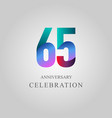 65 year anniversary celebration template design vector image vector image