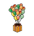 balloon air party with giftbox icon vector image vector image